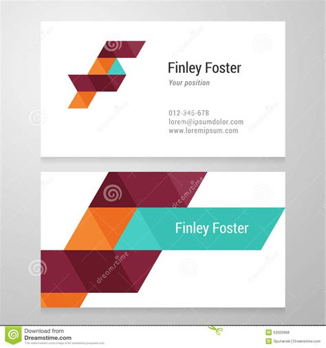 business card template us letter svg modern letter f business card template stock vector