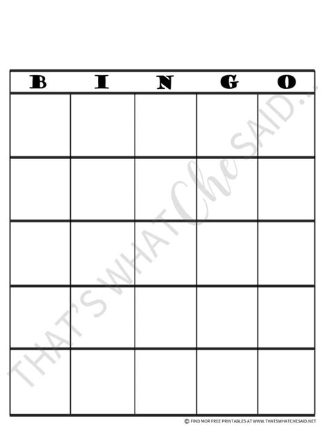 Bingo Board Printable