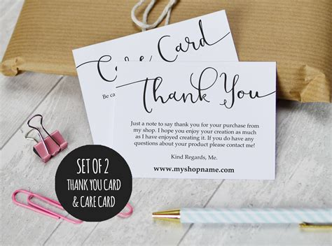 etsy thank you card template etsy shop thank you cards and care cards set of 2 instant