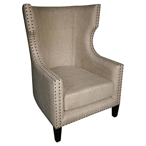 country accent chair sinclair country burlap nailhead wing back accent