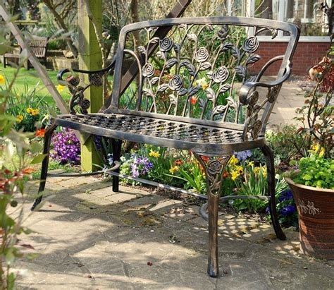 metal garden benches uk rose metal garden bench gardensite co uk