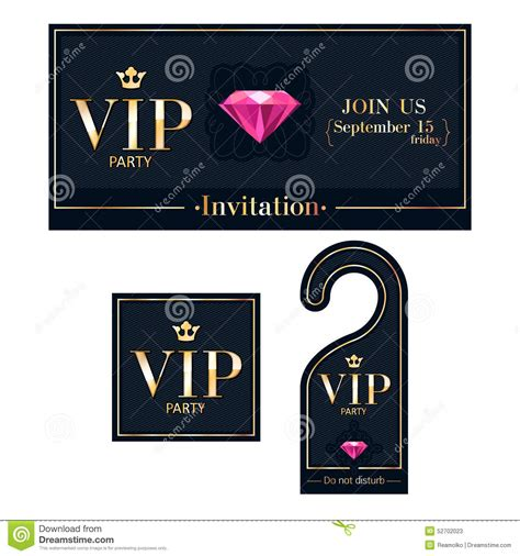 Vip Invitation Card Warning Hanger And Badge Stock Vector Illustration Of Invitation Crown Vip Birthday Invitations Templates Free