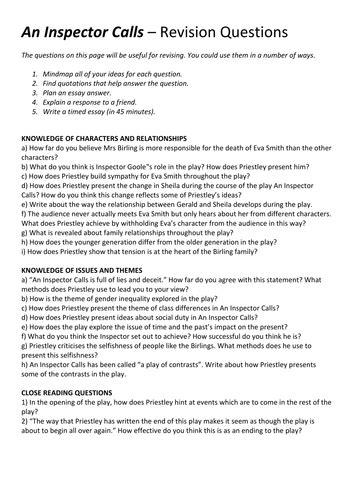 an inspector calls aqa an inspector calls practice essay questions by timgoundry teaching resources tes