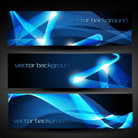 Set Blue Abstrak vector blue abstract banner set 3 free vector