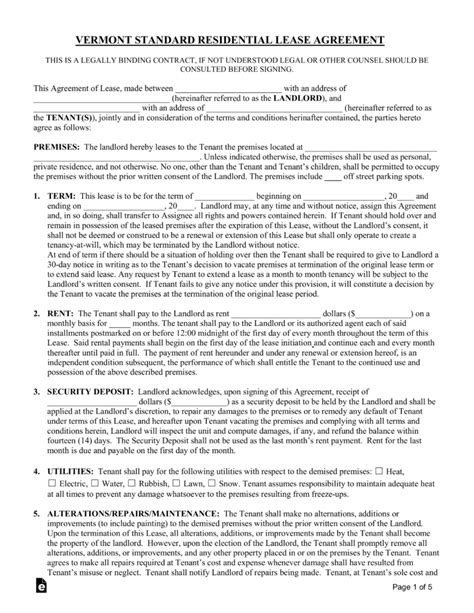 Free Vermont Standard Residential Lease Agreement Form Pdf Word Eforms Free Fillable Forms Standard Residential Lease Agreement Template