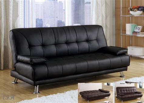 Black Futon by New Benson Black Or Brown Bycast Leather Futon Sofa Bed Ebay