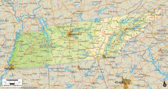 A Map Of Tennessee by Physical Map Of Tennessee Ezilon Maps