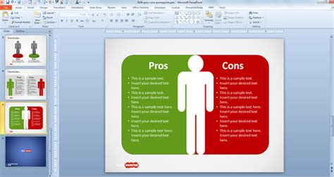 Pro Con List Template by Free Pros Cons Powerpoint Template Free Powerpoint
