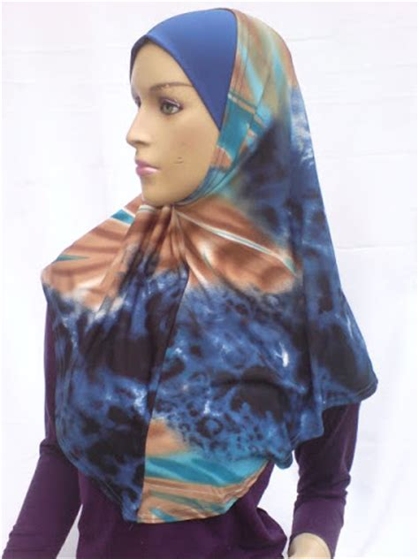 Fashion Muslim Scarf Jilbab Syria Sellen Cutting scarves tslb001 islamic scarves koleksi tudung syria bercorak blue brown
