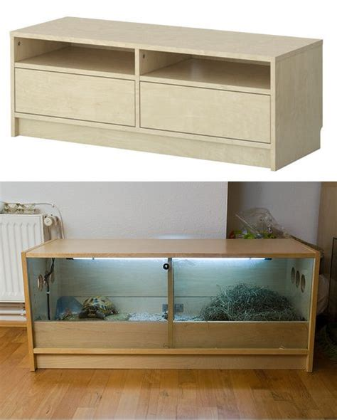 fish tank bench ikea hack benno tv stand turned into turtle house ikea