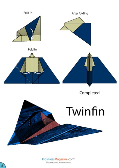 Medium Level Origami - twinfin airplane origami kidspressmagazine