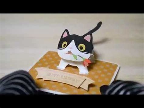 templates for cat pop up card pop up birthday card ブチネコちゃん bicolor cat