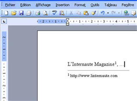 comment citer un site comment ins 233 rer une note de bas de page dans word