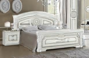 Bed Frames Luxury Versace Inspired White High Gloss Silver 5ft King Bed