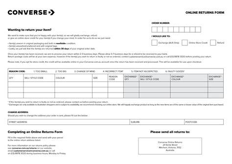 Returns Return Exchange Form Template