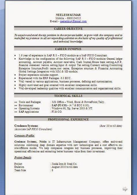 Sap Fico Sle Resume by Sap Fico Cv Format
