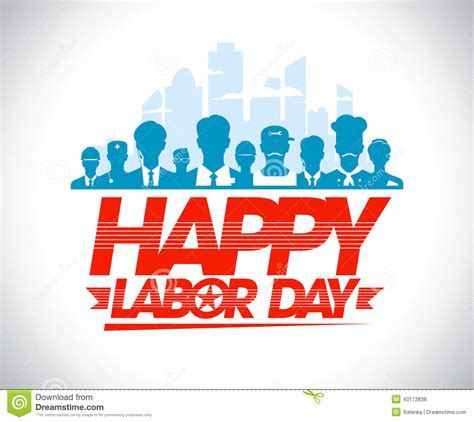 day design happy labor day design with workers stock vector image