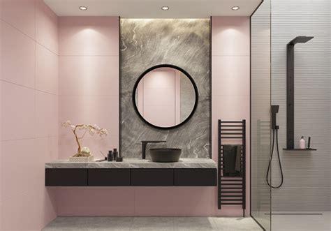 luxury light pink  bold black bathroom  large wall