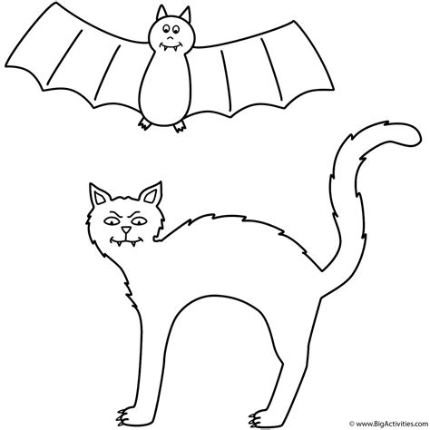 coloring pages of a black cat for halloween black cat with bat coloring page halloween