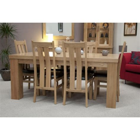 opus modern oak large chunky top dining table