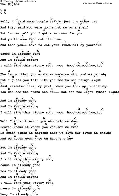 song lyrics with guitar chords for already