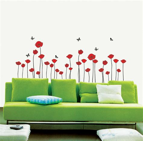 Peel And Stick Removable Wallpaper by Red Poppies Flower Wall Stickers Wallstickery Com