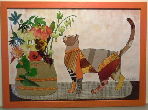quadri con vasi di fiori quadro con gatto su tavolo e vaso di fiori per la casa e
