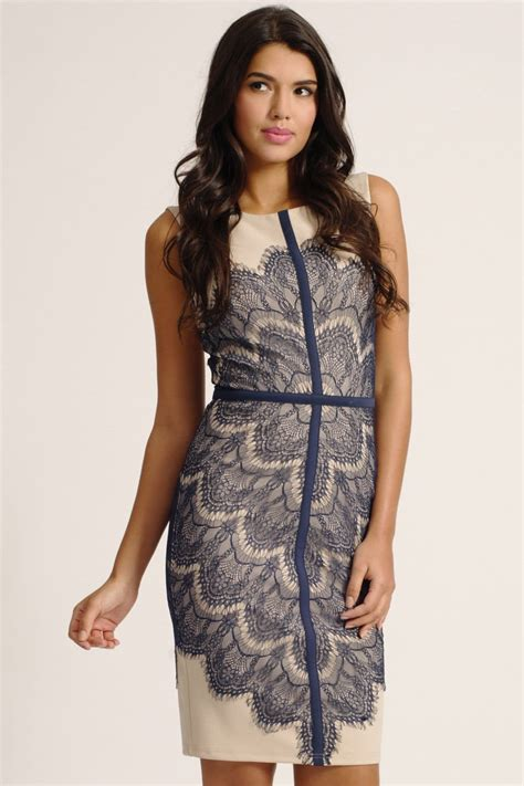 Lace Panel Dress navy lace panel bodycon dress
