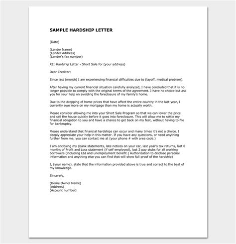Hardship Affidavit Letter Sle Hardship Letter Template 10 For Word Pdf Format