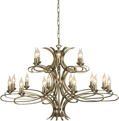 Penn Contemporary 18 Light Large Brushed Brass Chandelier Large Chandeliers