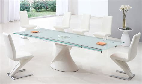Glass Dining Table With White Chairs Expandable Glass Dining Table Home Design Ideas