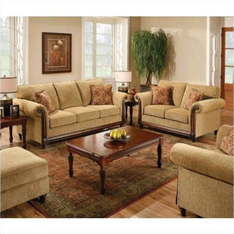 Living Room Sofa Set Simmons Upholstery Crossmagelen 3 Sofa Set In Brass 8003slc Traditional Living