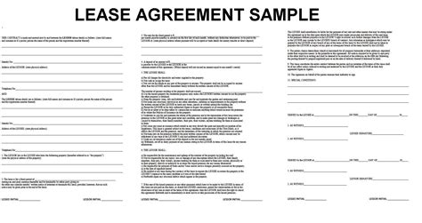 residential property lease agreement template doc 7911024 one page lease agreement anuvratinfo