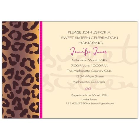Sweet 16 Invitations by Cheetah Sweet 16 Invitations Paperstyle