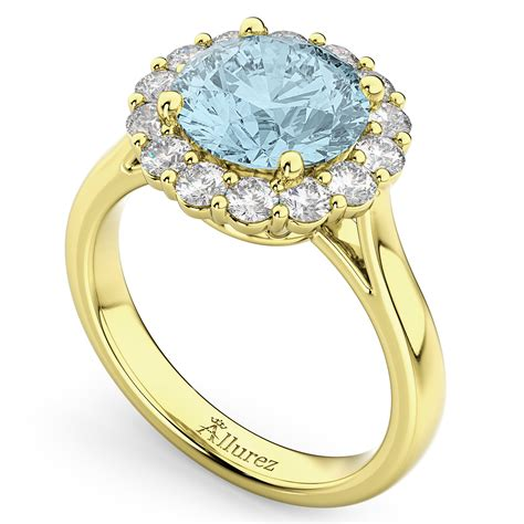 halo aquamarine engagement ring 14k yellow
