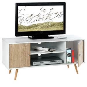 meuble tv murcia blanc chene sonoma