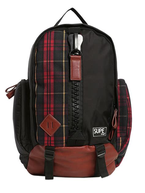 Plaid Buckled Backpack supe design plaid canvas mountain backpack in black for