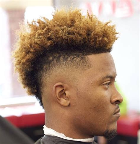 Afro Taper Fade With Blonde Tip | 40 stirring curly hairstyles for black men