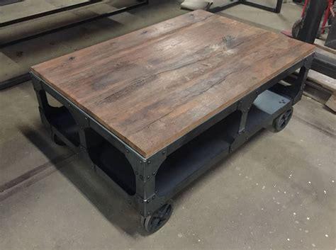 poten onderstel salontafel salontafel met burnt oak blad en robuust onderstel