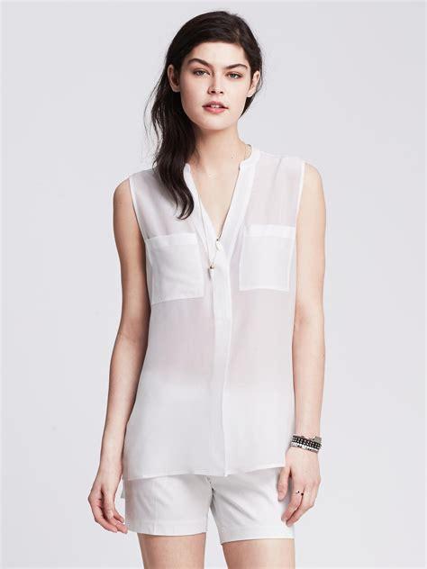 Pastel Blouse White Berkualitas banana republic light silk sleeveless popover blouse in white lyst