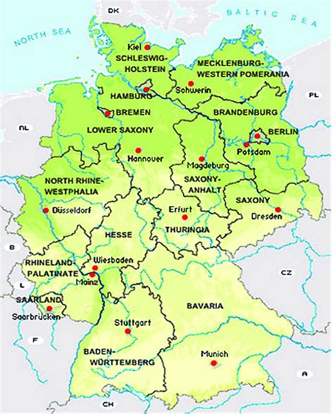 map of germany and colour map of germany showing the federal states