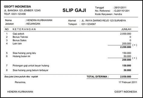 contoh surat keterangan penghasilan atau slip gaji karyawan 7 contoh slip gaji karyawan guru perusahaan pns file