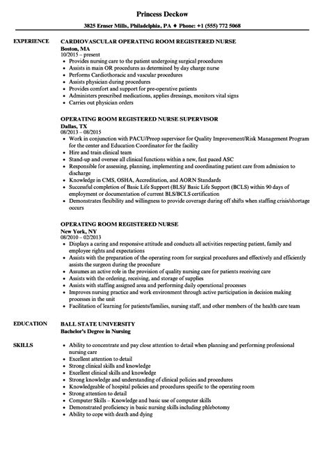 Resume Templates Operating Room operating room registered resume sles velvet