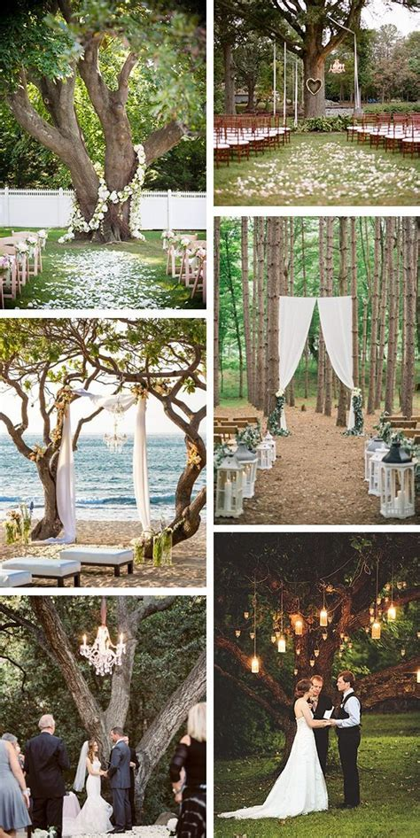 Outdoor Wedding Ceremony Under A Tree   Wedding Ideas