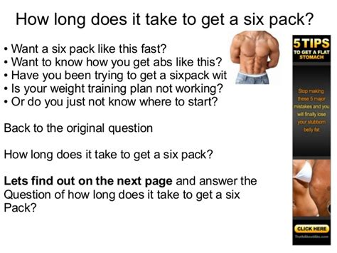 how does it take to get a six pack