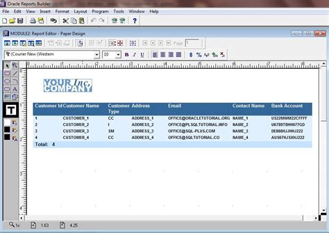 run web layout oracle reports tutorial run module report editor paper design oracle