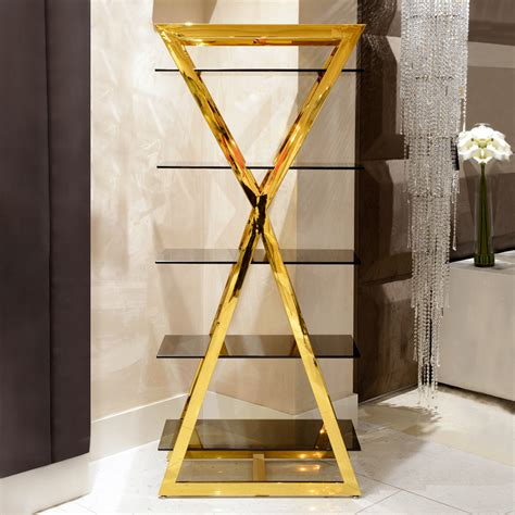 modern gold smoked glass shelving unit