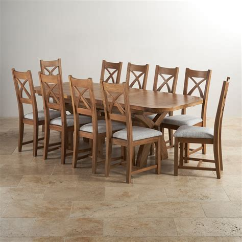 Hercules Dining Set In Rustic Oak Extending Table 10 Dining Table 10 Chairs