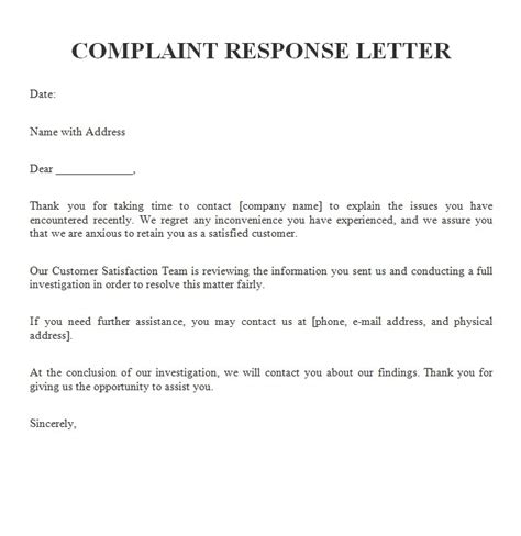 customer response letter templates exle customer complaint response letters
