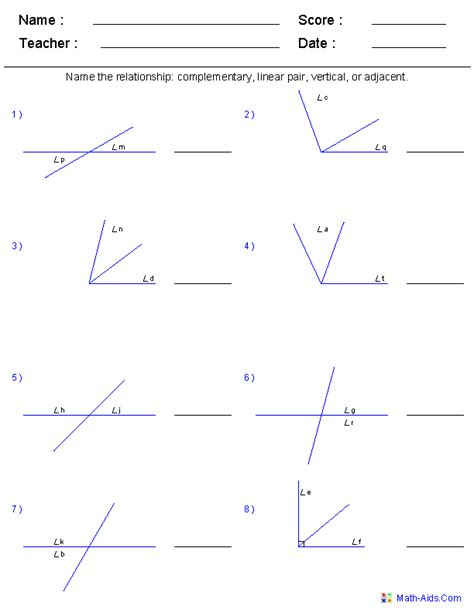 Line And Angle Relationships Worksheet Answers by Geometry Worksheets Angles Worksheets For Practice And Study